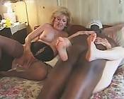 Ebony hunk gets wrapped up with two grannies engaging in lustful horny