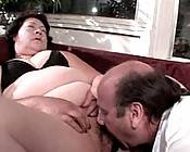 Huge granny babe titty fucking a bald stud in the patio