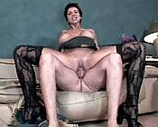 Sex-starved older brunette riding and spreading wide to fill her hungry hole.
