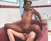 Ebony bitch in wild and mad interracial fucking thrill in the tub